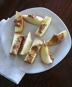 Apples With Almond Butter- almond butter adds important nutrients like iron, vitamin E and calcium. For a snack, we suggest enjoying half of an apple with a tablespoon of raw almond