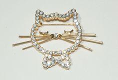 vintage cat jewelry | Rhinestone Cat Brooch Vintage Pin vintage jewelry by OodlesofBling