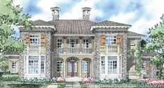 "Sater Design Collection's 8020 ""Vienna"" home plan from our Ultimate European House Plan Book..."