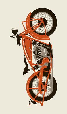 RED 1920 MOTORCYCLE « Limited Edition Art Posters « Methane Studios