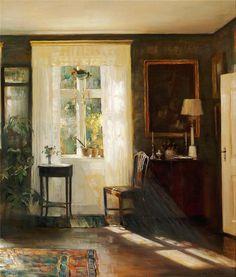 huariqueje:Sunlight, Reading Room - Carl Vilhelm Holsoe 1910