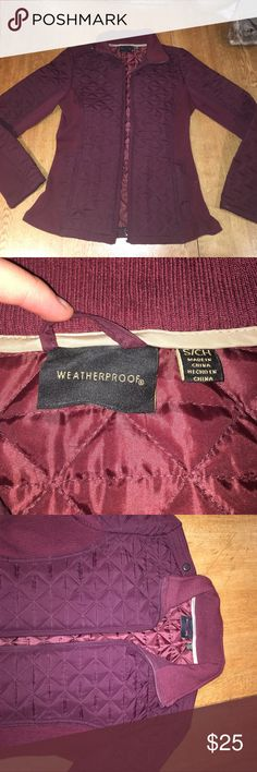 Cranberry Quilted Water Repellent Jacket Cranberry colored, water repellent, stretchy ribbed material on the sides for comfort, size XS by Weatherproof. Weatherproof Jackets & Coats