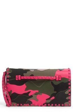 Camo + Neon + Valentino? = AMAZING! Valentino 'Rockstud - Camo' Leather Flap Clutch available at #Nordstrom