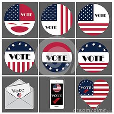Logo and icon vote for presidential of USA 2016