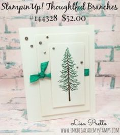 Stampin'Up! Thoughtful Branches bundle, christmas card, clean and simple, Lis apretto, inkbigacademystamps