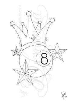 Black Outline Eight Ball With Nautical Stars And Crown Tattoo Stencil