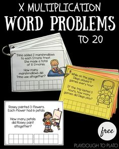 Free multiplication word problem cards that help kids think about how to solve real life-type math problems! Great for first grade and second grade math work, math centers or quiet work! Word Problems 3rd Grade, Second Grade Math, Math Problems, Real Life Math, Math Multiplication, Maths, Homeschool Math, Homeschooling, Guided Math