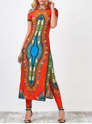 Haute Afrique Slit Robe imprimée Robe avec Pantalon
