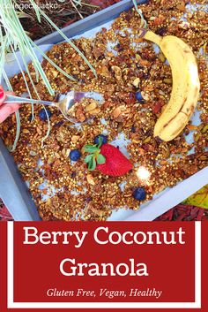Want a granola recipe that is as healthy as it is delicious? Then this gluten free and vegan breakfast recipe is for you! Made with whole food ingredients like buckwheat groats, coconut flakes and berries, this granola recipe is just healthy enough for breakfast...but addictive enough to eat as a gluten free dessert!