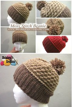 This Free Crochet pattern teaches you to Crochet this Wide Band Beanie using the Moss Stitch with a pom pom.