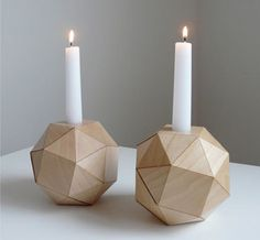 Geometric Wood Candlesticks / Urban Analog