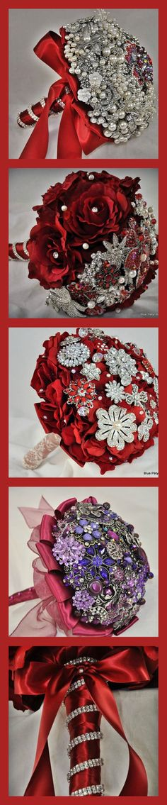 Red brooch bouquets by Blue Petyl #red #wedding #bouquet                                                                                                                                                      More