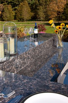 Outdoor counters in Sapphire Blue granite with eased edges. Blue Granite, New England, Eco Friendly, Summertime, Design Inspiration, Building, Outdoor Decor, Kitchen Ideas, Sapphire