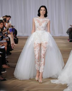 Ines Di Santo Spring 2016 illusion body suit with lace applique and detachable tulle skirt wedding dress | https://www.theknot.com/content/ines-di-santo-wedding-dresses-bridal-fashion-week-fall-2016