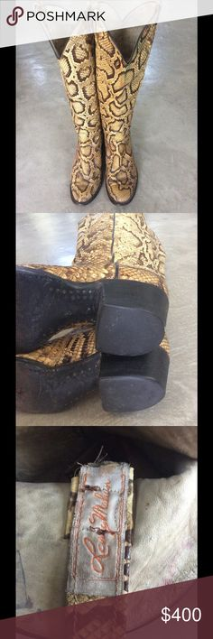 """True vintage Larry Mahan Full Python boots Very rare full Python boots in great condition. Late 60's early 70's and hard to find size 7.5-8. They measure 18"""" top to bottom, 2"""" heel height, widest top circumference 15.5"""". Original  heels and soles with pegs. No bald spots, boot pulls in tact.  Beautiful Vintage Shoes Heeled Boots"""