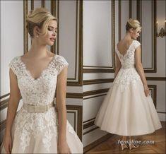 111 elegant tea length wedding dresses vintage (53)