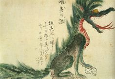 This illustration shows an Ezo Wolf (a.k.a. Hokkaido Wolf), which is believed to have gone extinct in the late 19th century (after this illustration was made). The animal is seen here with its paw on a human skull.