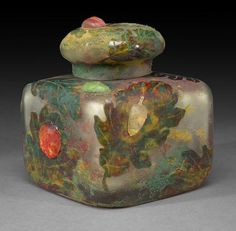 A Daum Nancy overlaid and etched cameo glass inkwell with cover <br>circa 1910