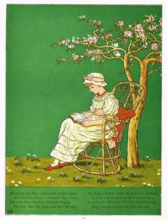 """Kate Greenaway's 'Under the Window' - """"BENEATH THE LILLIES""""  - Chromolithograph - 1878"""