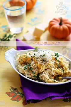 Angel Hair Pasta with Creamy Pumpkin Cheese Sauce | FamilyFreshCooking.com