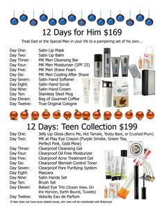 Let Mary Kay help you do a 12 days of Christmas for your hubby or teenager! Contact me http://www.marykay.com/lisabarber68 Call or text 386-303-2400: