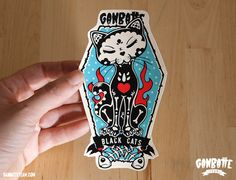 Skull Black Cat  Big Sticker in Bag  Ganbatte Black by Ganbatte