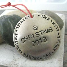 Personalized Christmas Ornament, nickel silver, family names or other wording around the edges, please read listing for specs