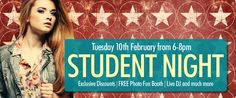 Tuesday 10 February 6pm - 8pm: Drake Circus Student Night. Exclusive discounts, free photo fun booth, live DJ and much more.