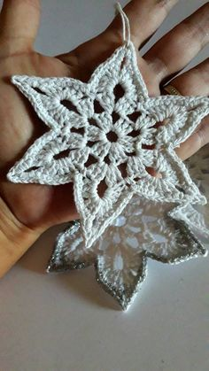 christmas star crochet Christmas ornaments handmade with very fine mercerized cotton yarn in white with silver border or red Free Crochet Snowflake Patterns, Christmas Crochet Patterns, Crochet Stars, Crochet Snowflakes, Crochet Motif, Crochet Flowers, Etsy Christmas, Christmas Star, Christmas Tree Ornaments
