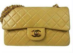 Chanel 23cm Beige Classic Flap  Lambskin Shoulder by gailparker4, $1512.00