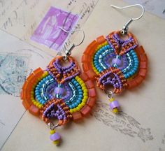 Happy Colors Beaded Macrame Earrings Orange Purple Blue