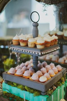 Wedding cupcake tiers by Cupcake DownSouth in South Carolina | photo credit Angela Cox Photography