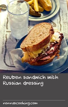 The exact history of the Reuben remains undocumented, but this roast beef sandwich filled with sauerkraut, cheese, pickles and Russian dressing is a classic Jewish deli lunch item and has been around since in New York. Cheese Sandwich Recipes, Reuben Sandwich, Russian Dressing, Lunch Items, Sauerkraut Recipes, Roast Beef Sandwiches, Deli Food, Roast Beef Recipes, Russian Recipes