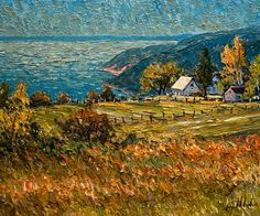 """Ensoleillement sur le fleuve, Ste-Irénée,"" by Raynald Leclerc Landscape Artwork, Abstract Landscape, Palette Knife Painting, European Paintings, Realistic Paintings, Seascape Paintings, Canadian Artists, Love Painting, Pictures To Paint"