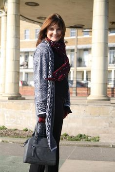 Although I am self employed I still have to attend the occasional business meeting. I always aim to portray a professional yet approachable look. Styling simple, black wide legged trousers with a black bell sleeved top opens the option to add layers of interest. I added a Jacquard print coatigan with a heavy geometric pattern, burgundy gloves, scarf and brogues and voila  - a relaxed outfit for an informal business meeting. Catch the whole post over on the blog…