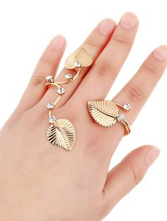 Rhinestone Leaves Ring #women, #men, #hats, #watches, #belts, #fashion