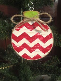 Chevron Stripe Wood Ornament by CelebrateOrnaments on Etsy, $12.00