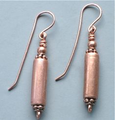 Copper Tube Earrings with Copper Beads | Omisilver - Jewelry on ArtFire