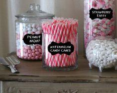 Candy Buffet Label for Jars - Chalkboard Labels Medium- mixed set of 18 - Chalkboard labels for Weddings, Mason Jars, Candy Buffet Jars