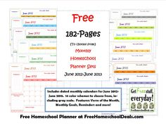 Free Monthly Homeschool Planner Sets (182-Pages!) Part of the Free Homeschool Planner by FreeHomeschoolDeals.com