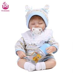 63.88$  Watch now - http://alivbn.worldwells.pw/go.php?t=32759855771 - UCanaan new 18inch 40-45cm Silicone Reborn Baby cloth Body best Christmas Present for children cute close Eyes Toys