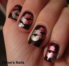 Shimmery kiss nail art