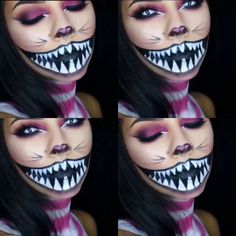 Cheshire Cat Makeup (like the nose and eye makeup) Cheshire Cat Makeup, Cheshire Cat Halloween, Cat Halloween Makeup, Cheshire Cat Costume, Chesire Cat, Halloween Inspo, Halloween Looks, Halloween Cosplay, Disney Halloween