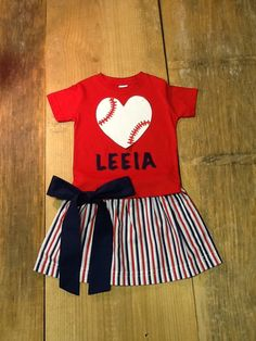 Girls Baseball Outfit. Twirly Skirt & Shirt Set. Any Name or Team Name. Red, White, Navy Blue. Or Any Team Colors. By EverythingSorella by EverythingSorella on Etsy