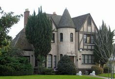 """Kindler Home 1520 E Olive Ave. French Norman Revival Known to every child in Fresno as """"the castle house"""". Take Me Home, Next At Home, Downton Abbey Castle, Fresno County, San Joaquin Valley, Storybook Cottage, Castle House, Central Valley, Old Houses"""