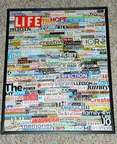 Got old magazines laying around that you don't know what to do with? Just cut out words, and glue them to a frame! To get really krafty, make it say something! I did this, and it makes a great room decoration!