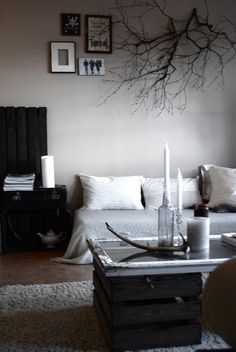love branches on the wall...love diy coffee table