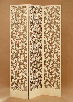 Custom Privacy Screen by Lightwave Laser Laser Cut Screens, Laser Cut Panels, Laser Cut Wood, Laser Cutting, Feng Shui, Dressing Screen, Portable Room Dividers, Room Divider Screen, Laser Cut Patterns