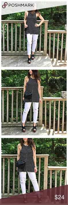 🆕 open back striped tank Black and white open back striped tank PLEASE Use the Poshmark new option you can purchase and it will give you the option to pick the size you want ( all sizes are available) BUNDLE and save 10% ( no trades price is firm unless bundled) Tops Tank Tops