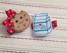 Milk N' Cookies Feltie Clip Set, Felt Applique, Baby Headband, Infant Headband, Photo Prop, Milk and Cookies Bow, Best Friends Bows